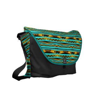 Turqoise Stripes and Gold Bars Tribal design Messenger Bag