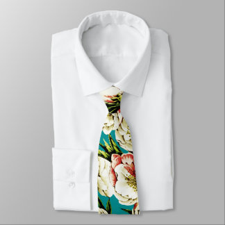 Turqoise Vintage Floral Pattern Tie