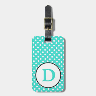 Turqoise white polka dots with D Bag Tag