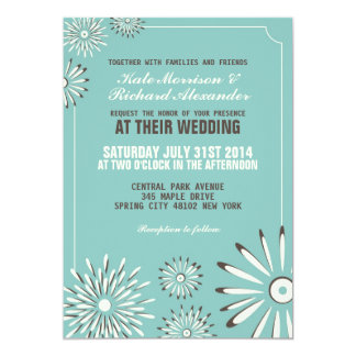 Turqouise and Cream Floral Wedding Invitation