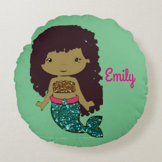 Turqouise and Gold Mermaid Personalized Pillow