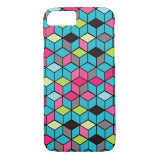Turqouise and Pink Cube Pattern iPhone 7 Case