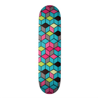 Turqouise and Pink Cube Pattern Custom Skate Board
