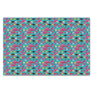 Turqouise and Pink Cube Pattern Tissue Paper