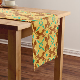 Turqouise Brown And Yellow Spanish Tile Pattern Short Table Runner