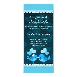 Turqouise Love Birds Long Wedding Invitation