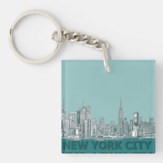 turqouise NYC text Keychain