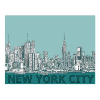 turqouise NYC text Postcard