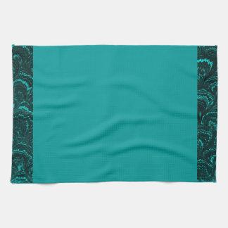 Turquesa abstracta retra maravillosa del pavo real toalla de cocina
