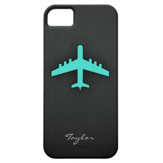 Turquesa; Aeroplano del verde azul iPhone 5 Case-Mate Cárcasa