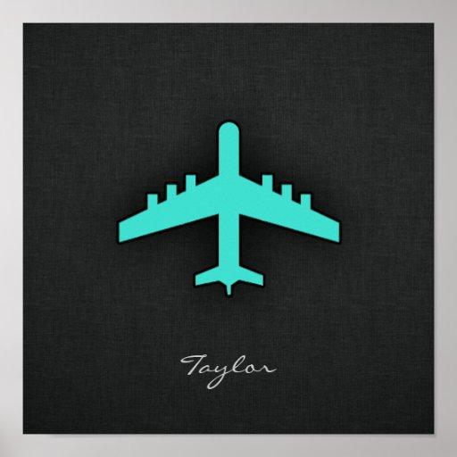 Turquesa; Aeroplano del verde azul Poster