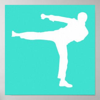 Turquesa; Artes marciales del verde azul Póster