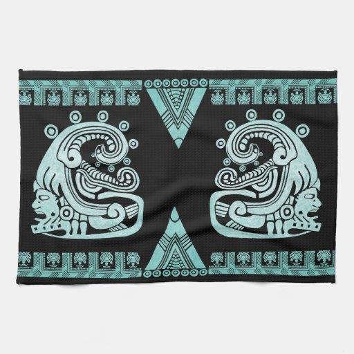 Turquesa azteca del jeroglífico del guerrero de Bl Toalla