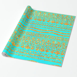 Turquesa azteca del neón del modelo del brillo papel de regalo