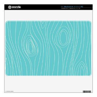 Turquesa, azul del trullo, grano de madera calcomanía para MacBook