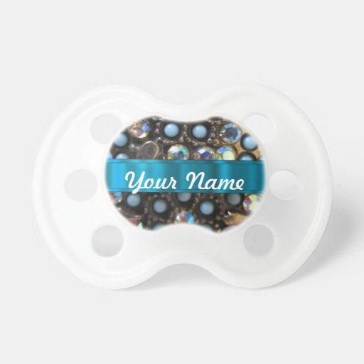 Turquesa azul goteada chupetes para bebés