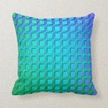 Turquesa azul y modelo verde de los cuadrados almohada