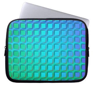 Turquesa azul y modelo verde de los cuadrados funda computadora