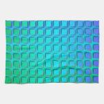 Turquesa azul y modelo verde de los cuadrados toalla