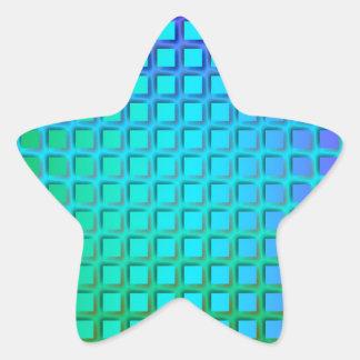 Turquesa azul y modelo verde de los cuadrados pegatina en forma de estrella