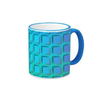 Turquesa azul y modelo verde de los cuadrados taza de dos colores