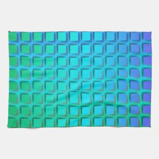 Turquesa azul y modelo verde de los cuadrados toalla de cocina