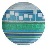 Turquesa azulverde de la placa platos