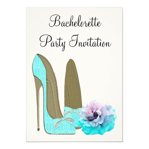 Turquesa Bachelorette subió estilete Invitiation Invitación Personalizada