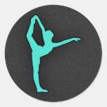 Turquesa; Bailarín de ballet del verde azul Pegatina Redonda
