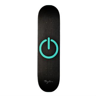 """Turquesa, botón de encendido azulverde patineta 7 3/4"""""""