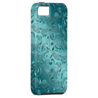 Turquesa brillante de Paisley iPhone 5 Carcasas