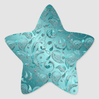 Turquesa brillante de Paisley Calcomanía Forma De Estrella