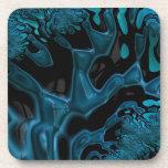 Turquesa brillante y arte negro del fractal