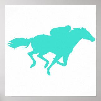 Turquesa; Carrera de caballos del verde azul Póster