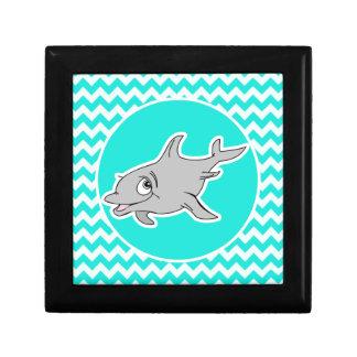 Turquesa, color Chevron de la aguamarina; Delfín Caja De Recuerdo