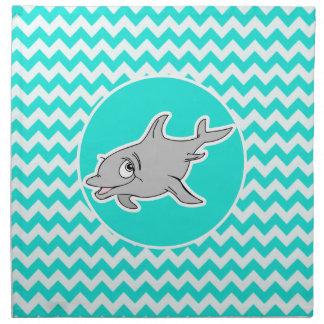 Turquesa, color Chevron de la aguamarina; Delfín Servilletas De Papel