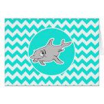Turquesa, color Chevron de la aguamarina; Delfín Felicitaciones