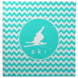Turquesa, color Chevron de la aguamarina; Esquí de Servilleta Imprimida