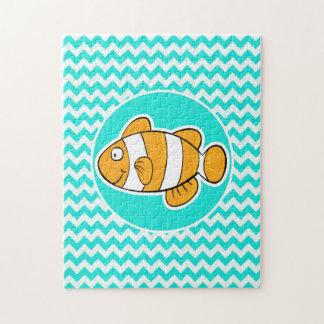Turquesa, color Chevron de la aguamarina; Pescados Rompecabezas