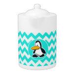 Turquesa, color Chevron de la aguamarina; Pingüino