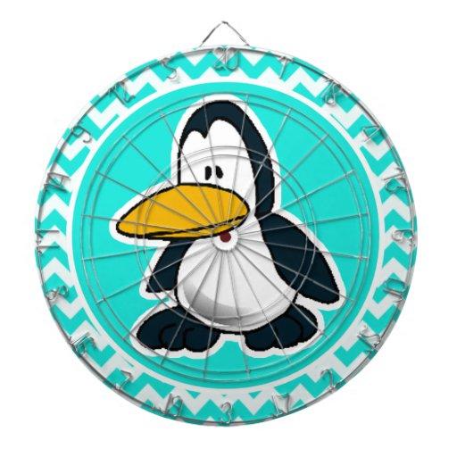 Turquesa, color Chevron de la aguamarina; Pingüino Tablero Dardos