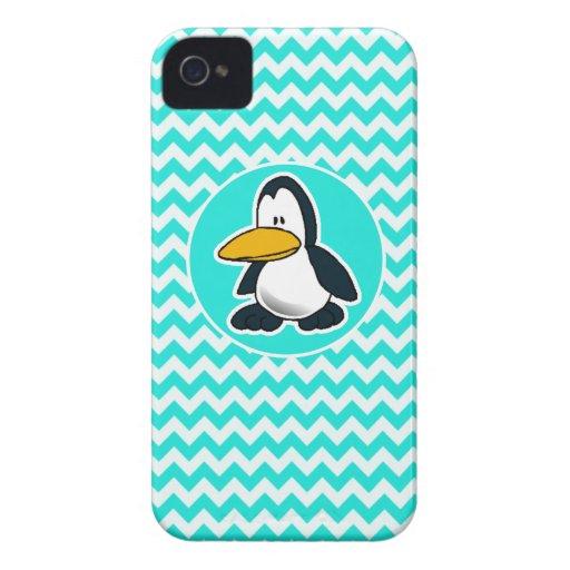 Turquesa, color Chevron de la aguamarina; Pingüino Case-Mate iPhone 4 Protectores