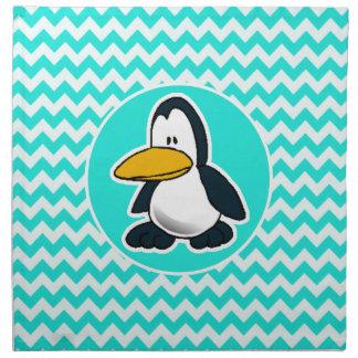 Turquesa, color Chevron de la aguamarina; Pingüino Servilleta