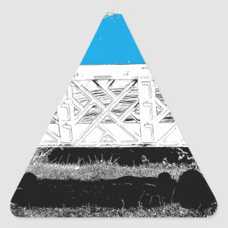 Turquesa con el banco pegatina triangular