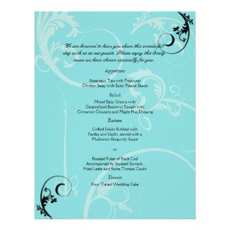 "Turquesa con el menú negro del boda del Flourish Folleto 8.5"" X 11"""