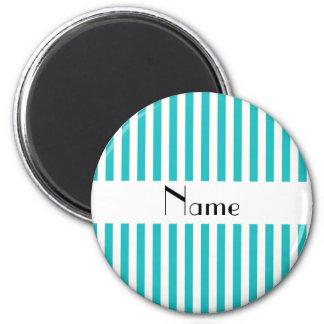 Turquesa conocida personalizada y rayas blancas imán redondo 5 cm