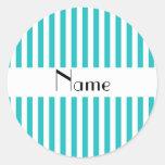 Turquesa conocida personalizada y rayas blancas pegatinas redondas