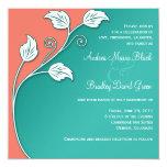 Turquesa, coral, y invitación blanca del boda