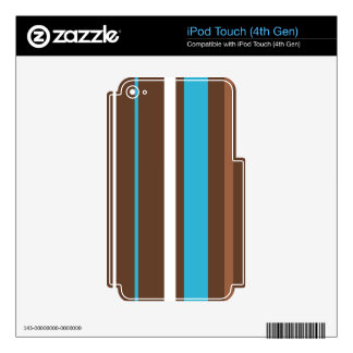 Turquesa de Brown y rayas blancas iPod Touch 4G Skins