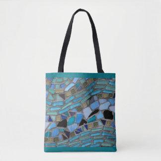 Turquesa de cristal del mosaico del mar azul bolsa de tela